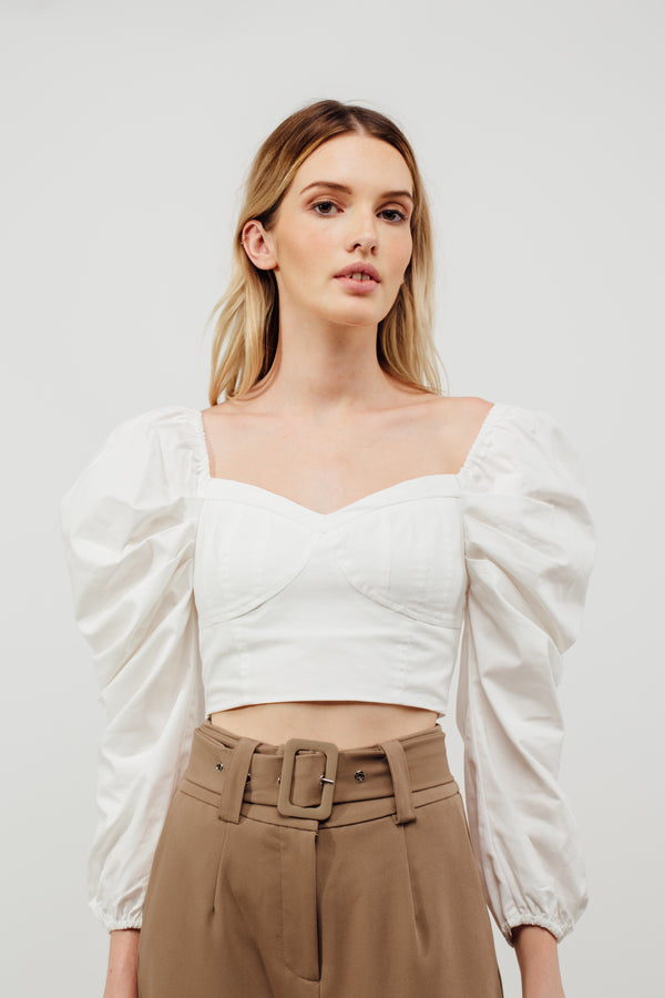 Scrunched Up Puffed Long Sleeved Top In White