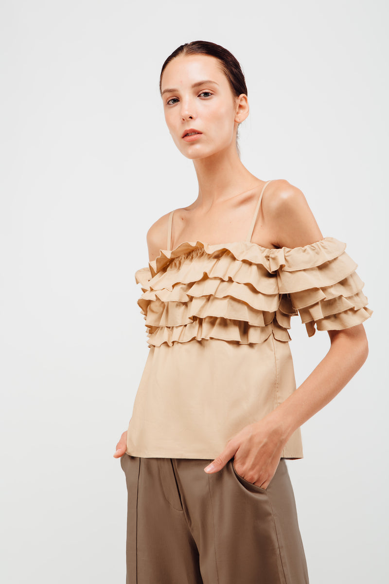 Layered Ruffled Off Shoulder Top In Sand