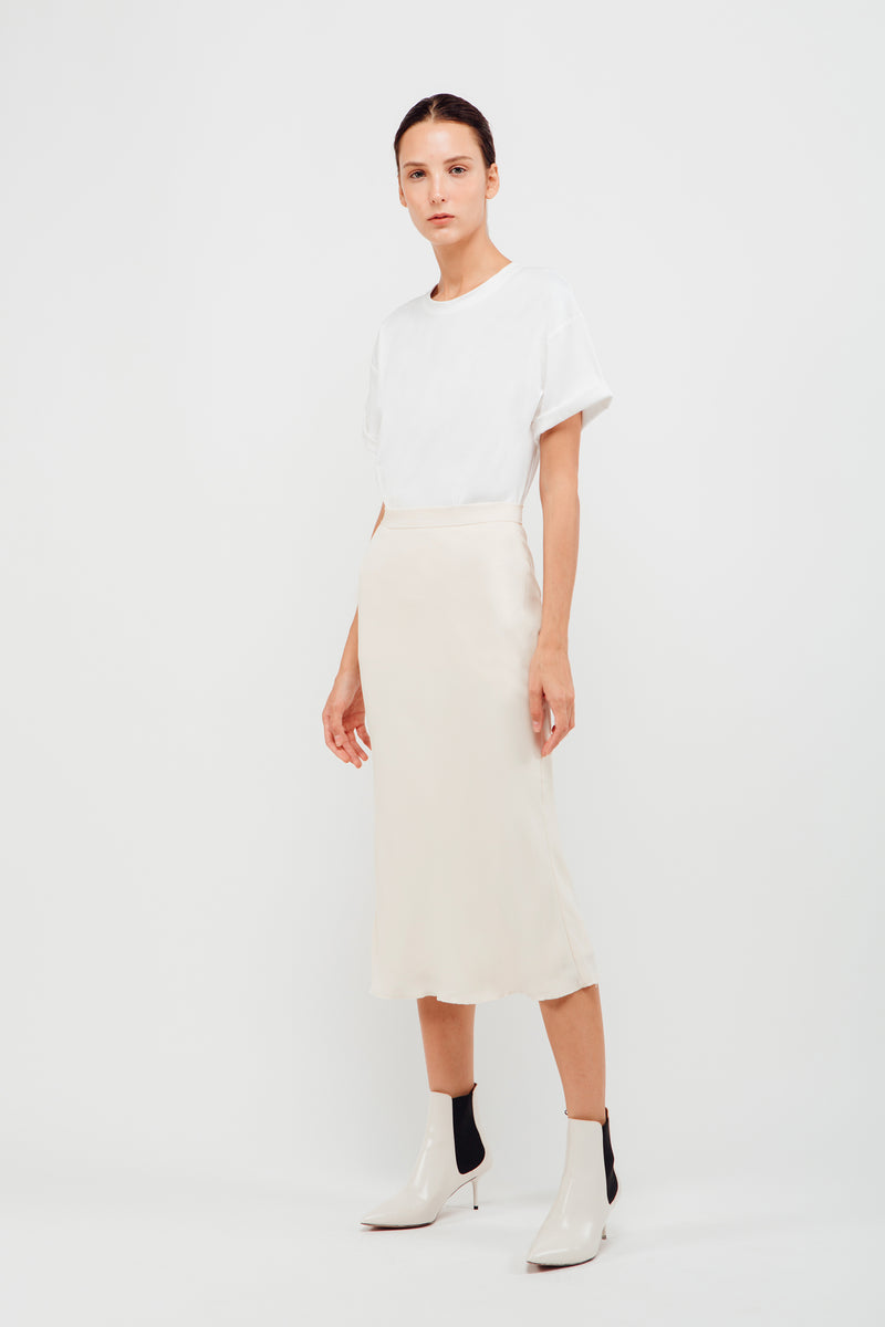 Mermaid Hem Midi Slip Skirt In Pearl