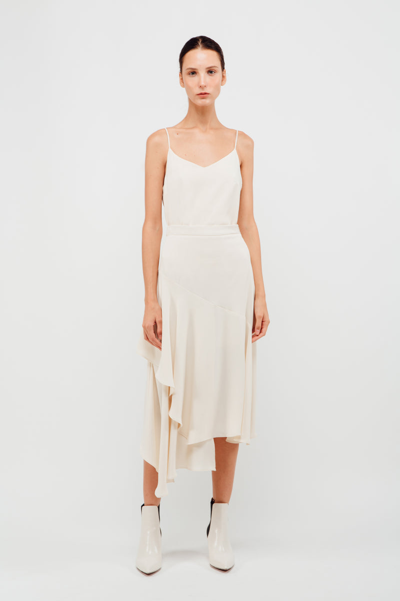 Asymmetrical Panel Ruffled Midi Skirt In Pearl