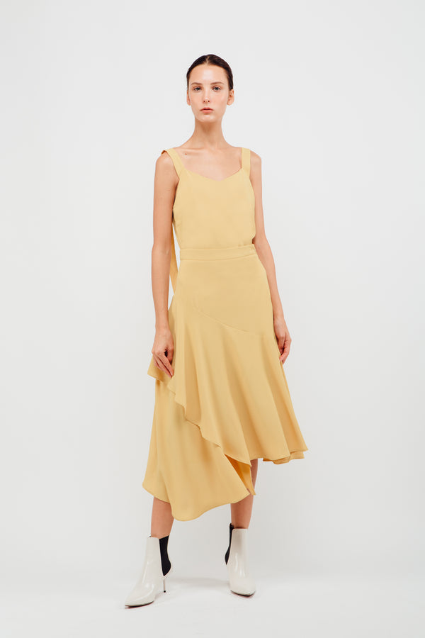 Asymmetrical Panel Ruffled Midi Skirt In Daffodil
