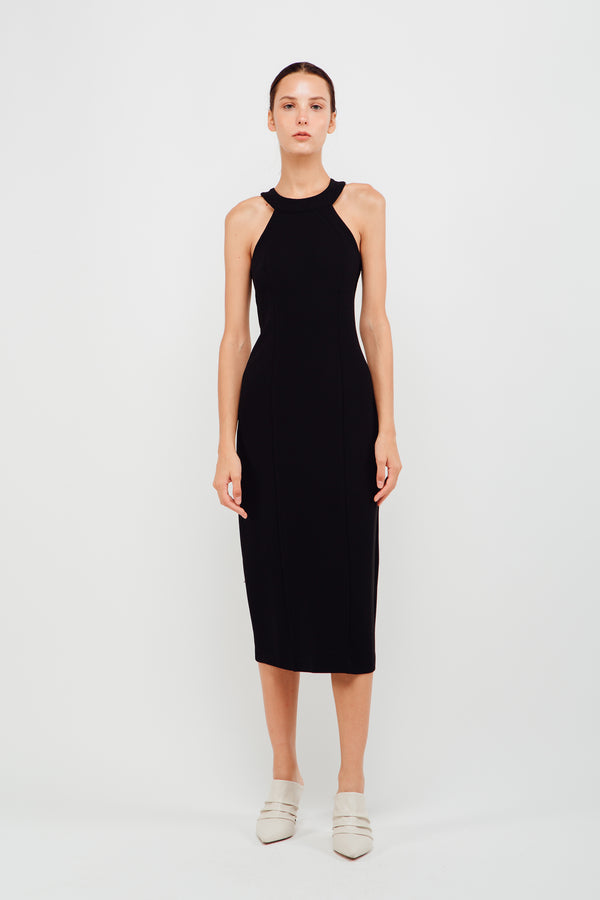 Halter Neck Stitchline Midi Dress In Black