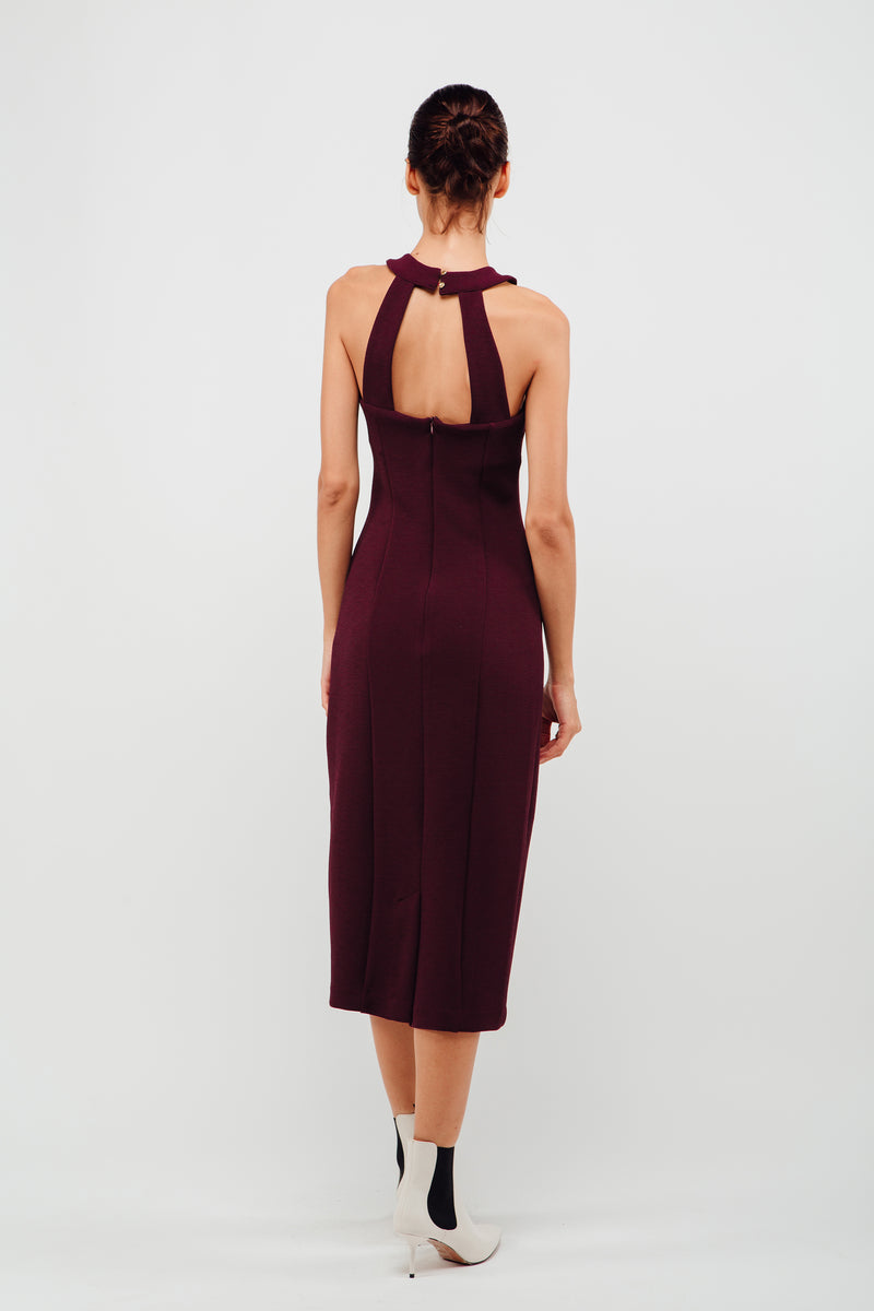 Halter Neck Stitchline Midi Dress In Maroon