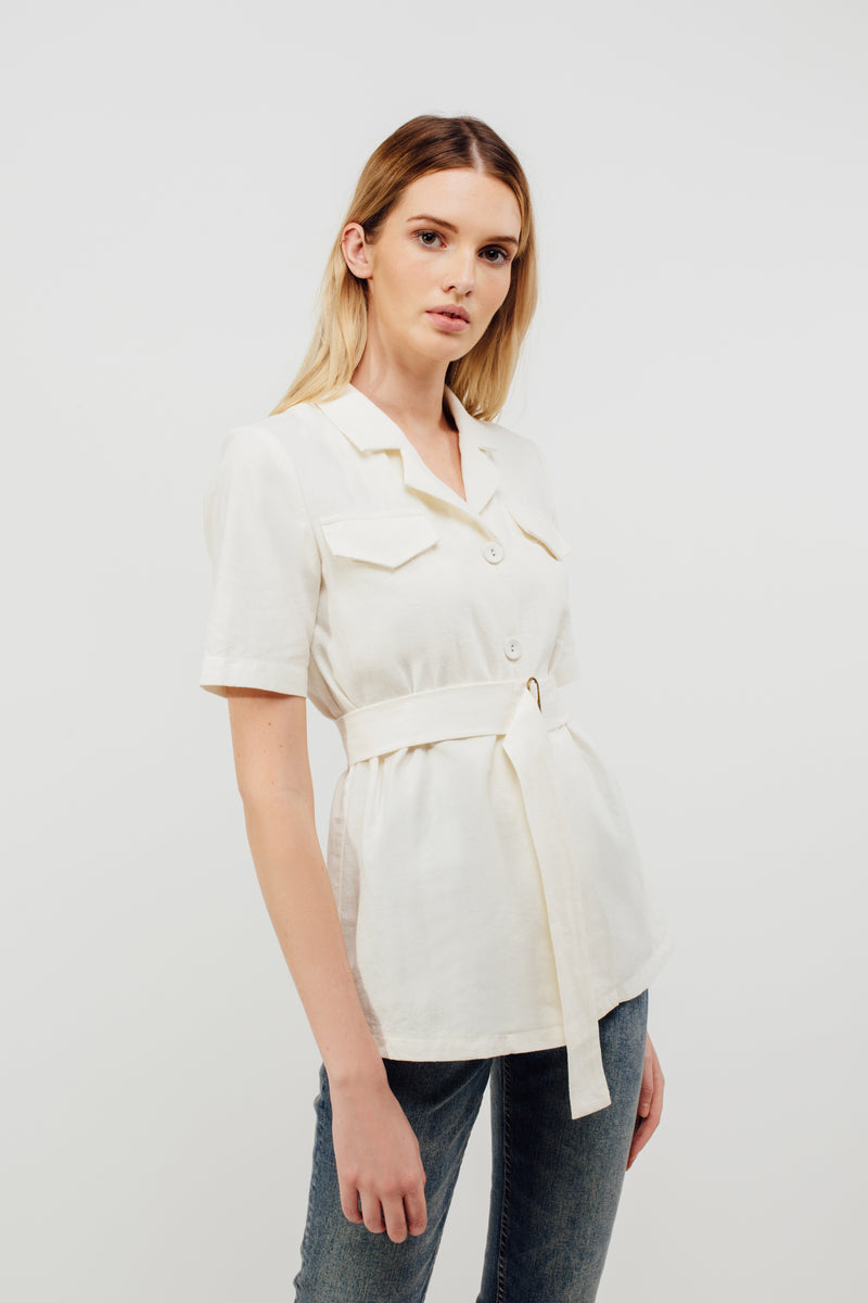 Camp Shirt With Sash In White