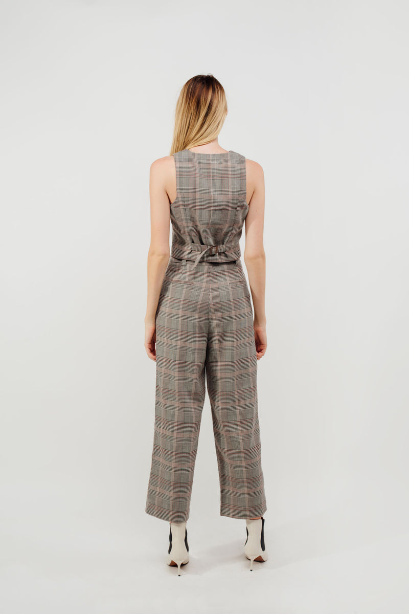 Belted Straight Legged Trousers In Rosewood Checked