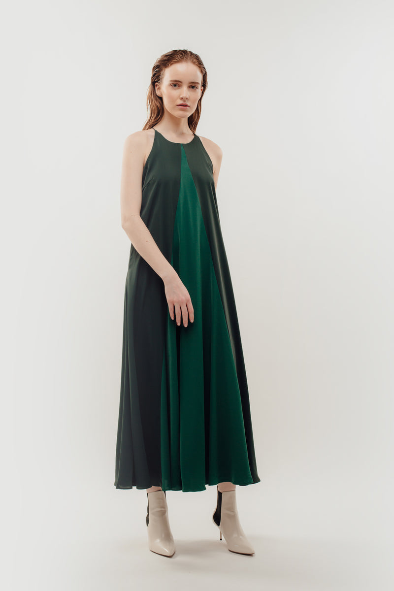 Two Tone Halter Contrasting Maxi In Green