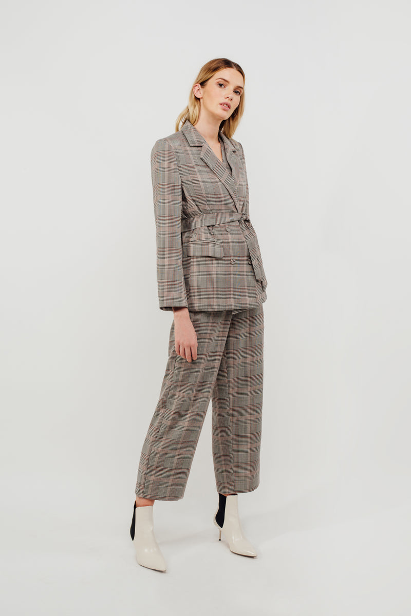 Classic Relaxed Fit Blazer in Rosewood Checked
