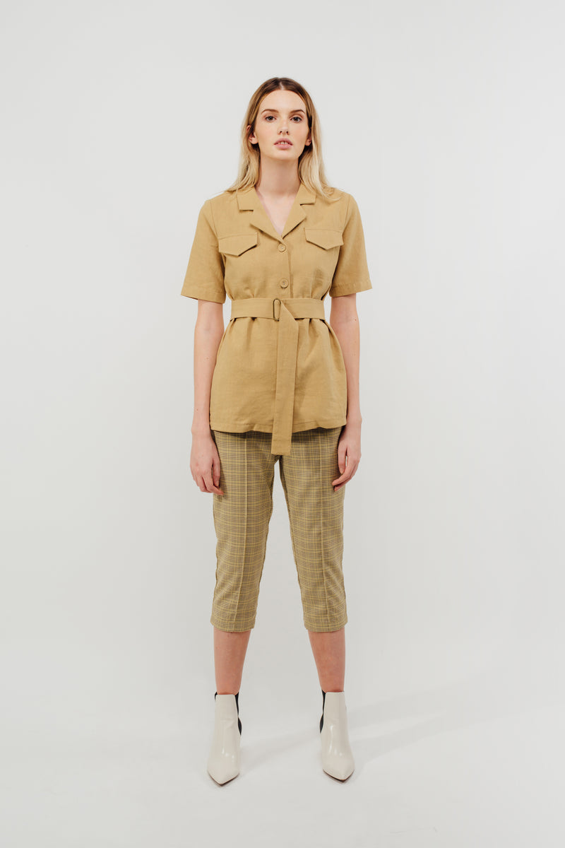 Camp Shirt With Sash In Mustard
