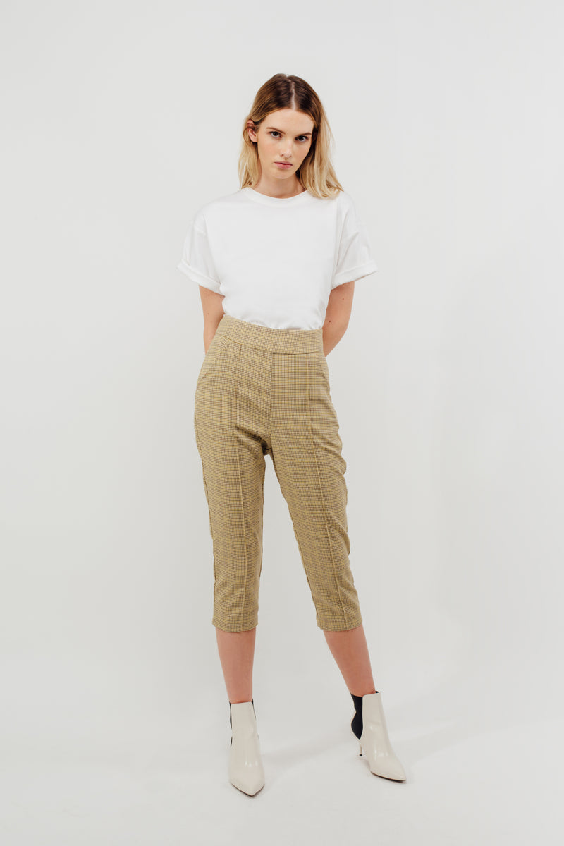 Cropped Tailored Trousers In Tuscany Checked
