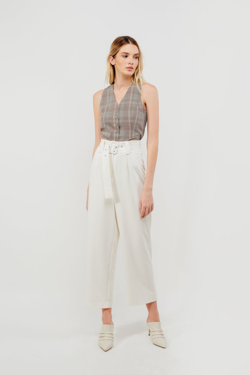 Belted Straight Legged Trousers In White