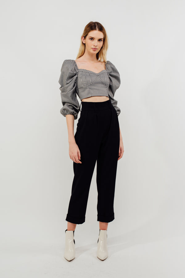 Cuffed High Waisted Cigarette Trousers In Black