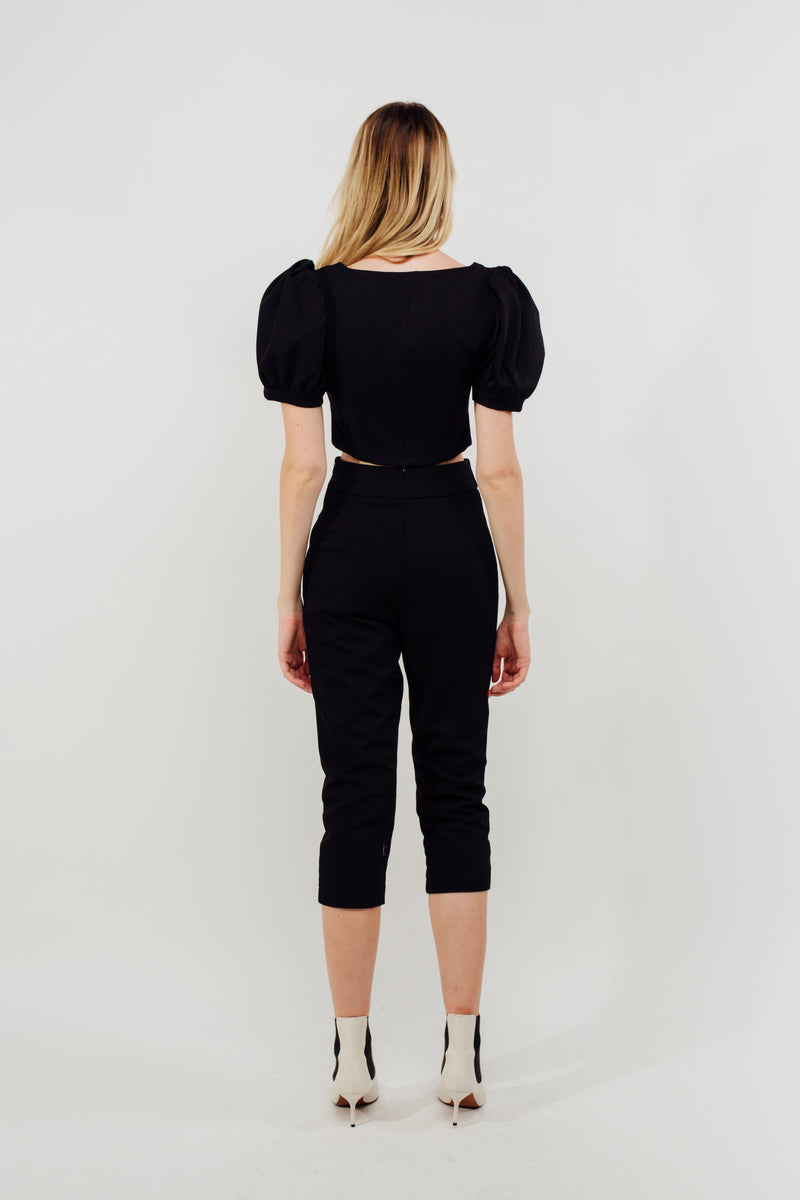 Cropped Tailored Trousers In Black