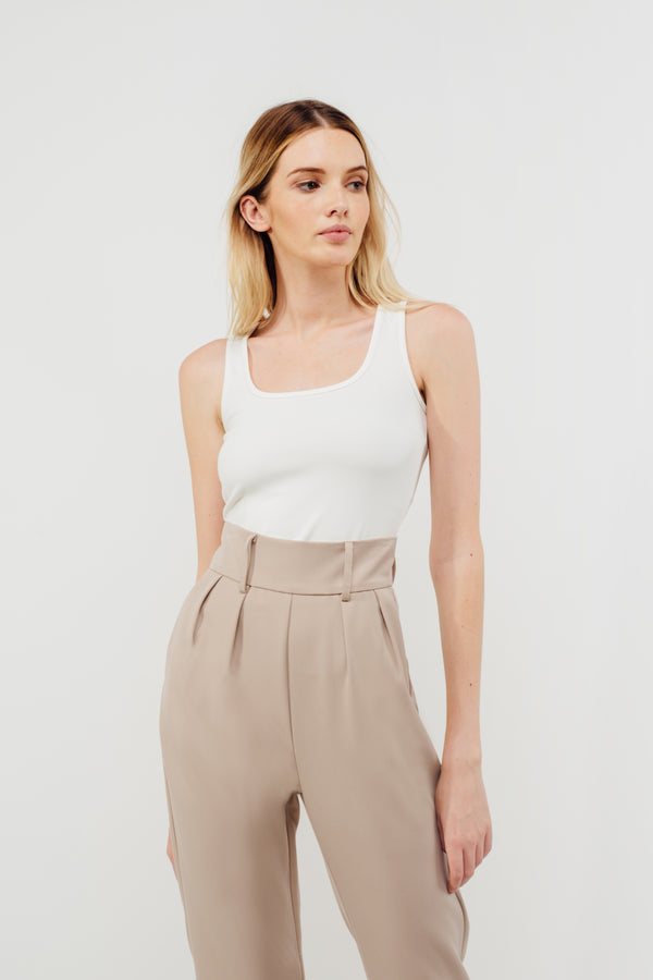 Cuffed High Waisted Cigarette Trousers In Beige