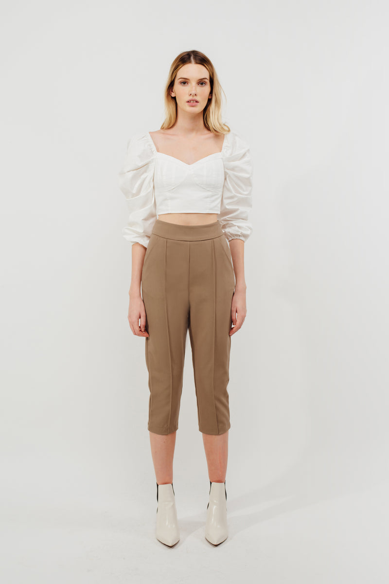 Cropped Tailored Trousers In Camel