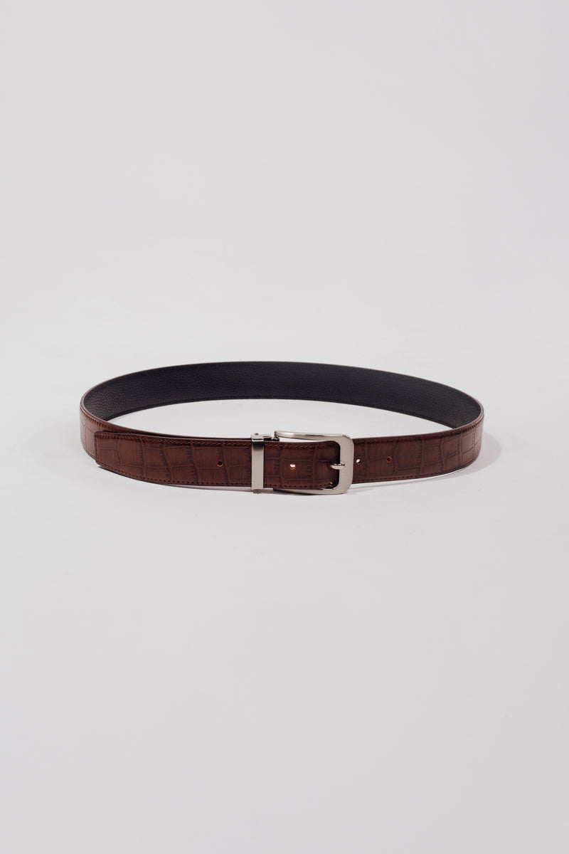 The Theo Belt In Textured Brown - Unisex