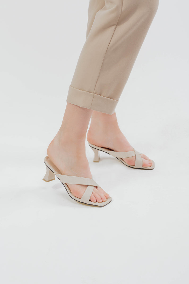 Sophia Heels in Textured Beige