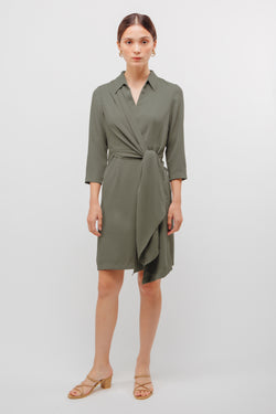 Knotted Asymmetrical Slit Dress In Sage