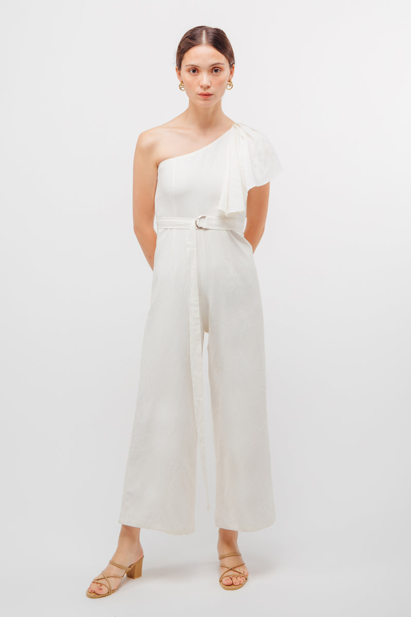 Belted Asymmetrical Toga Jumpsuit In White