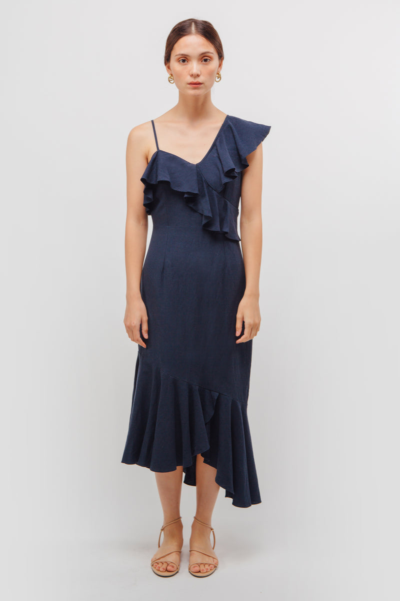 Asymmetrical Ruffle Midi Dress In Midnight Blue