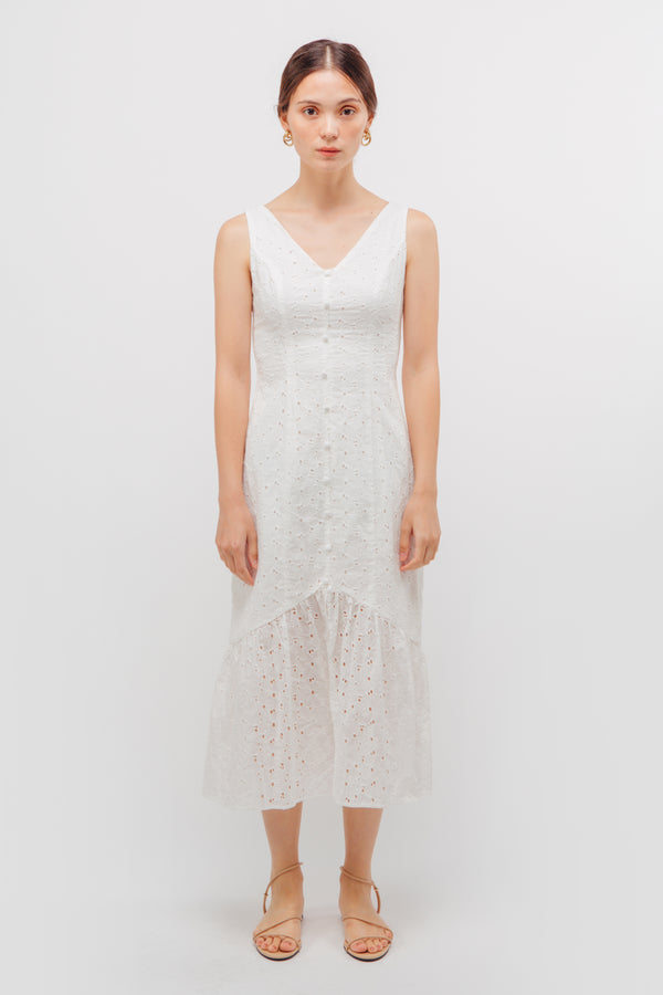 V-neck Crochet Panel Dress In White