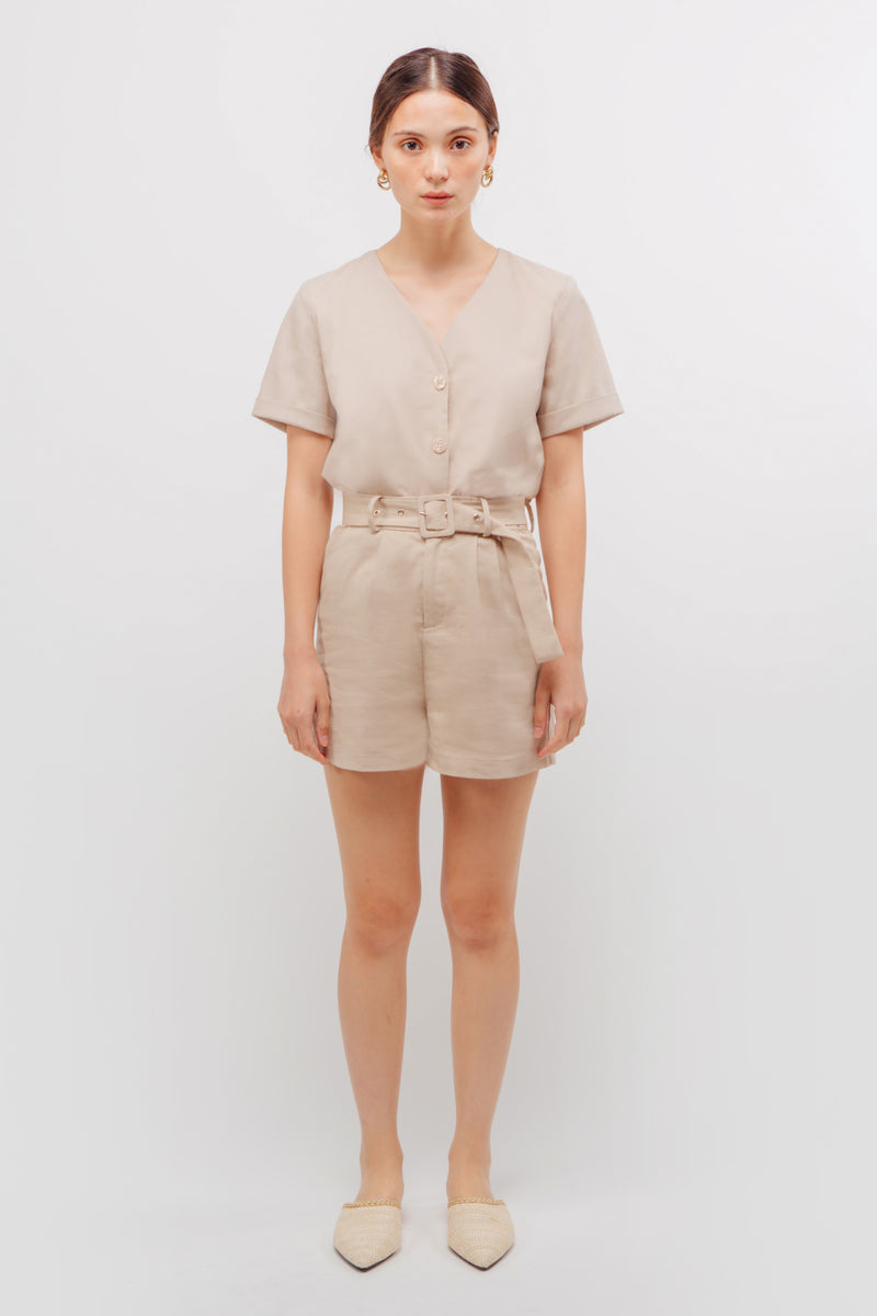 Linen Button Down Boxy Top In Natural Beige
