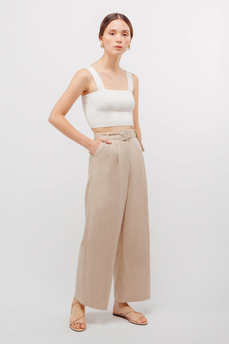 Belted Linen Wide Legged Pants In Natural Beige