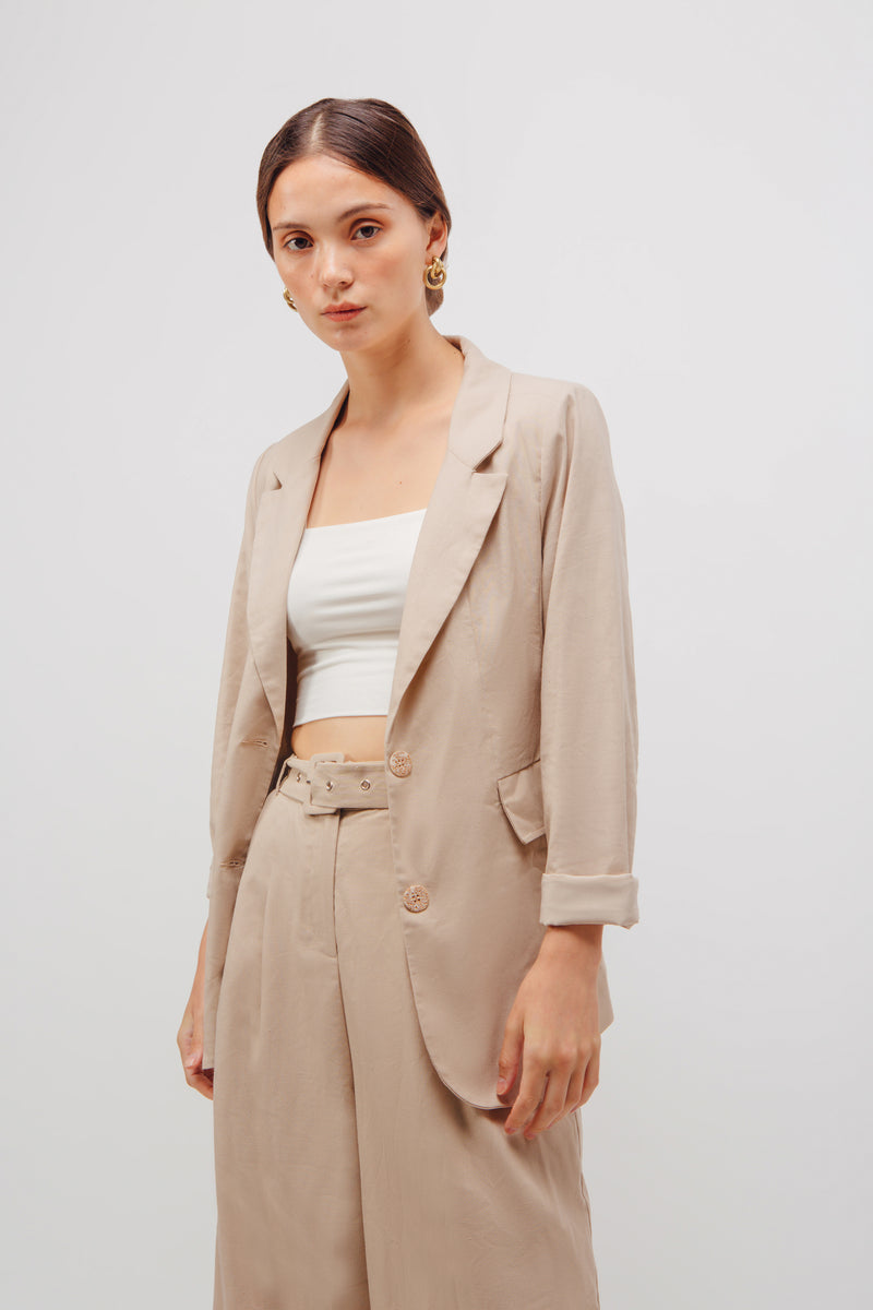 Linen Relaxed Fit Blazer In Natural Beige