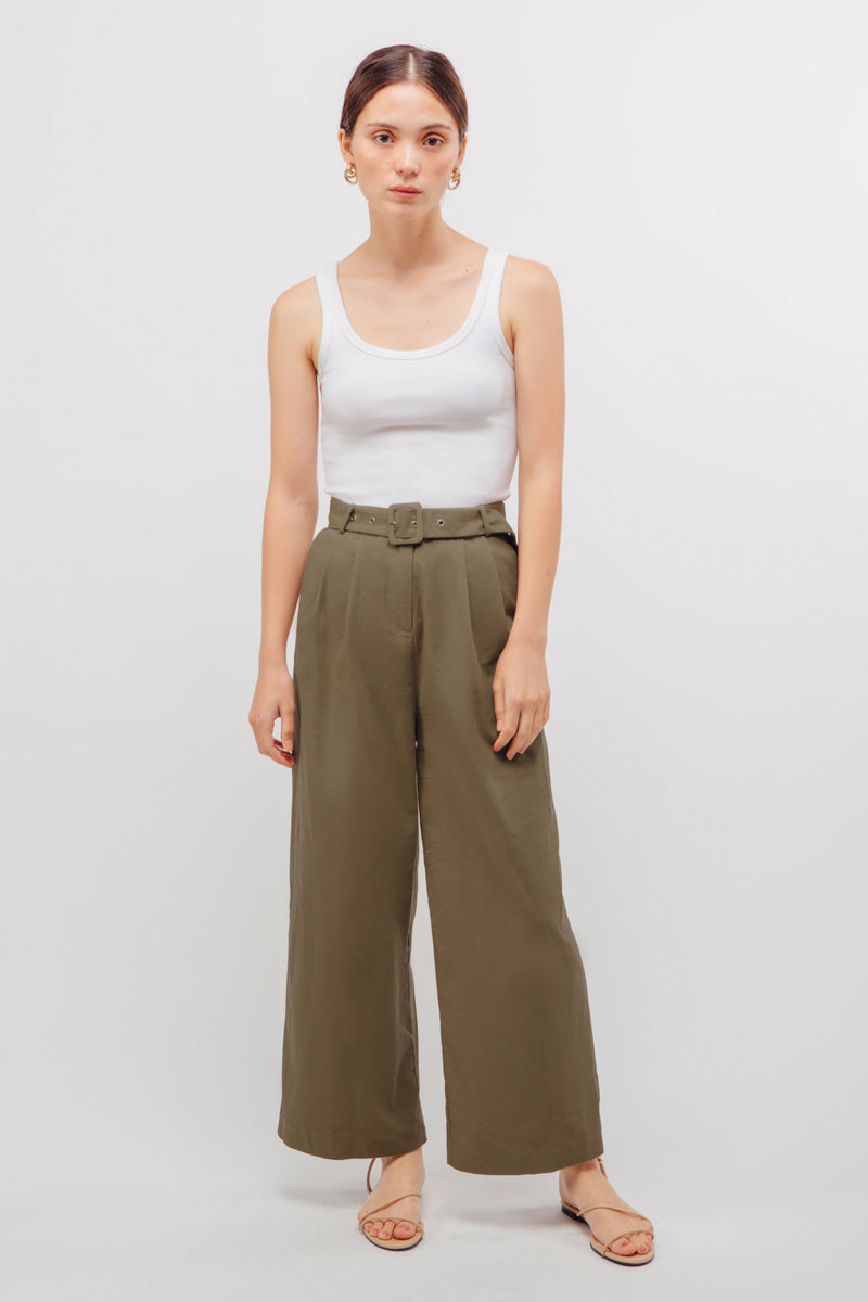 Belted Linen Wide Legged Pants In Muted Sage
