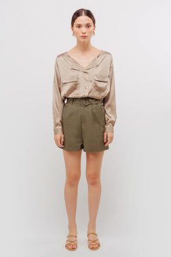 Linen Belted Shorts In Muted Sage