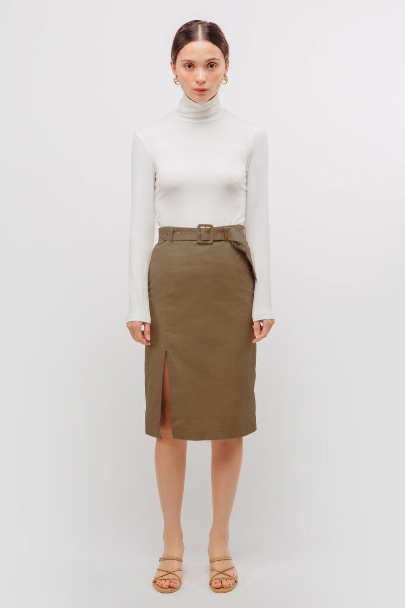 Belted Straight Skirt With Slit In Khaki