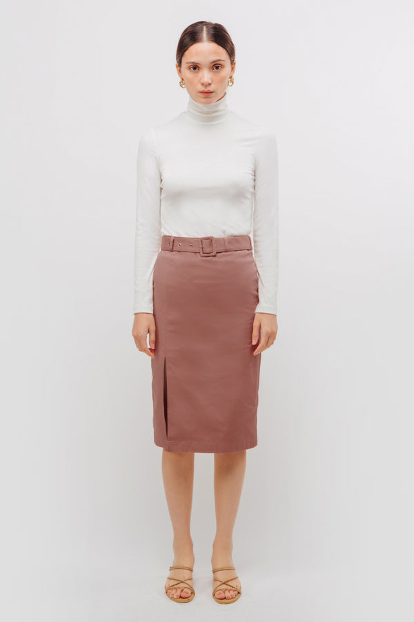 Belted Straight Skirt With Slit In Mulberry Pink