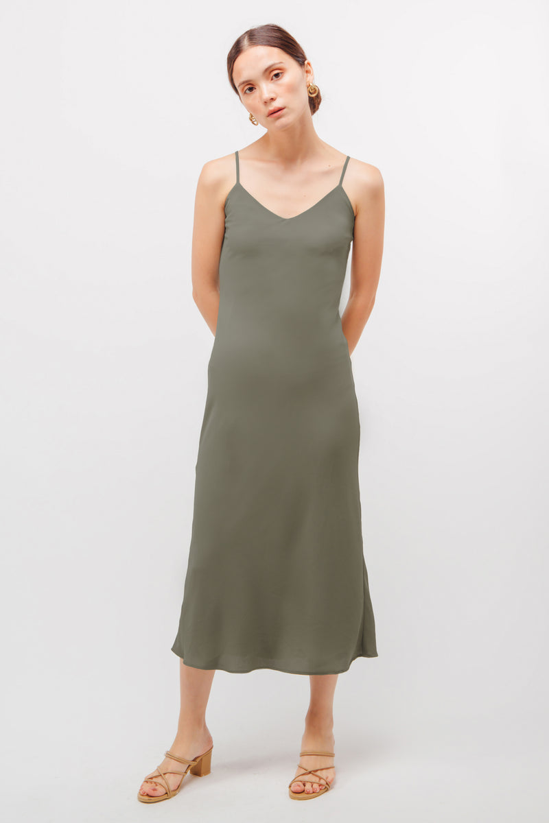 Classic Mermaid Hem Slip Dress In Sage