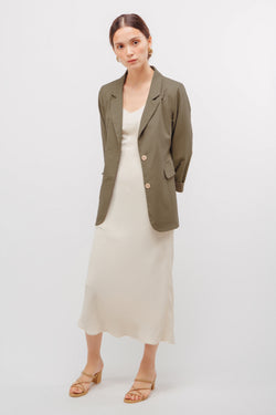 Linen Relaxed Fit Blazer In Muted Sage