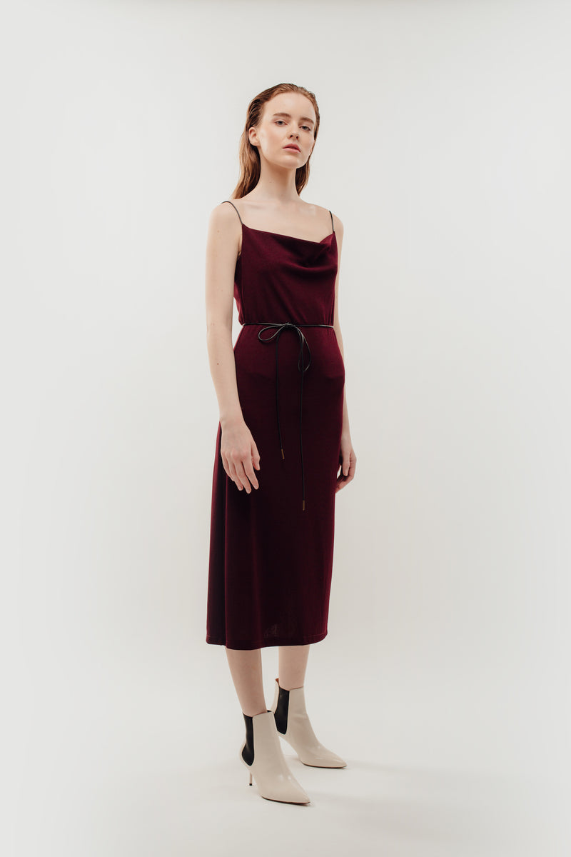 Drape Neckline Knitted Dress In Red