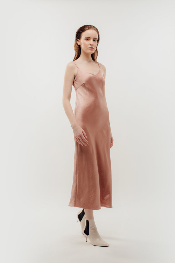 V-Neck Slip Dress In Rose Pink