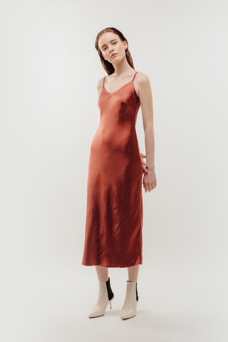 V-Neck Slip Dress In Rust