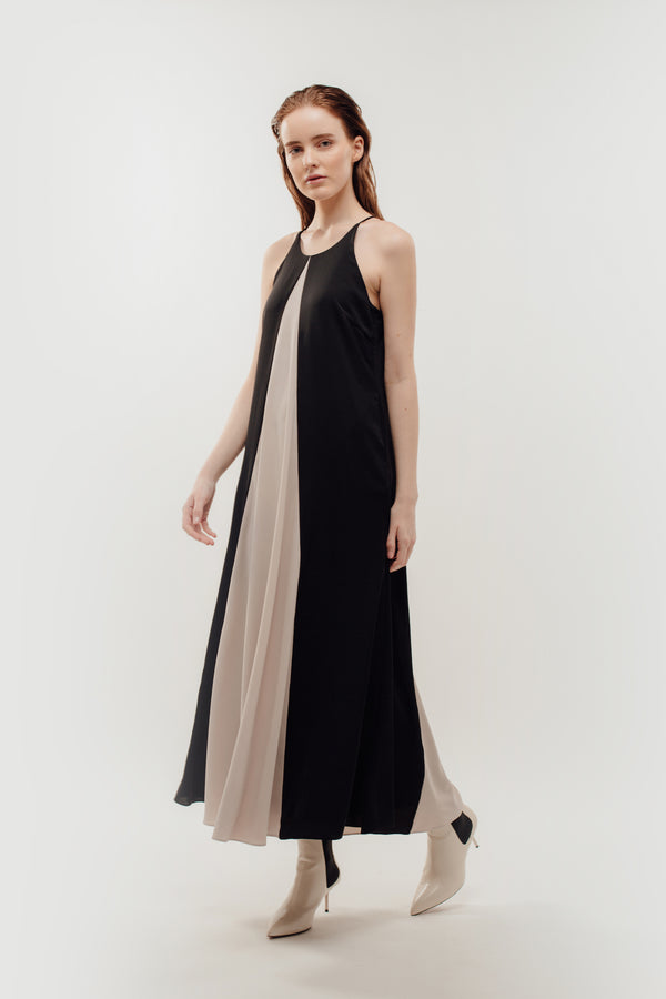 Two Tone Halter Contrasting Maxi In Black