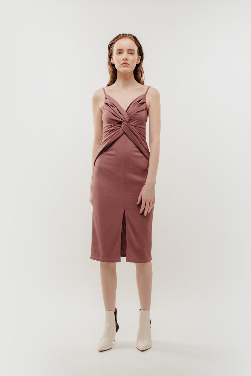 Knotted Dress in Rose Mauve