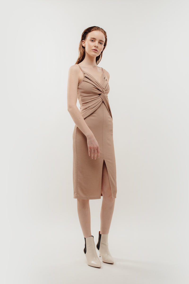 Knotted Dress in Nude Beige