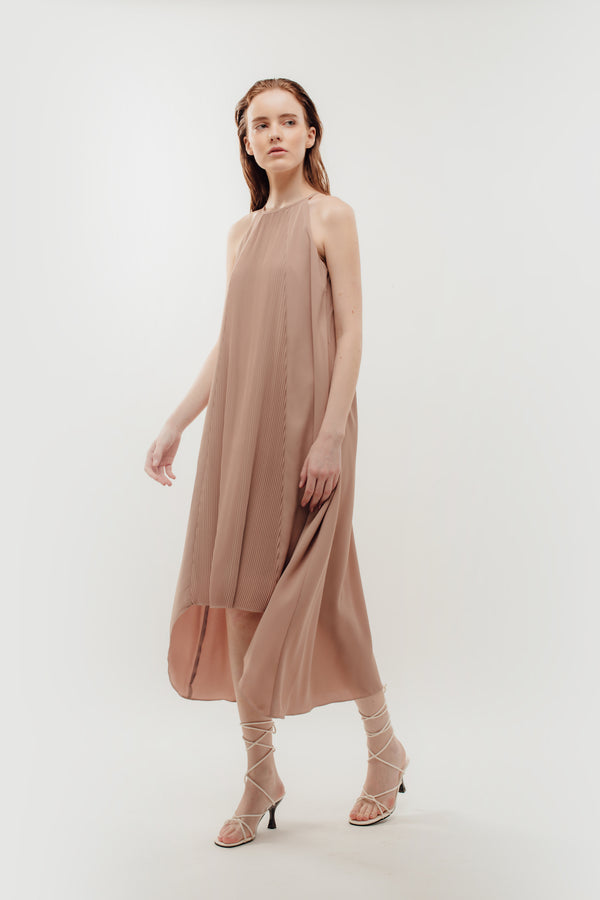 Pleated Halter Dress In Powdered Rose