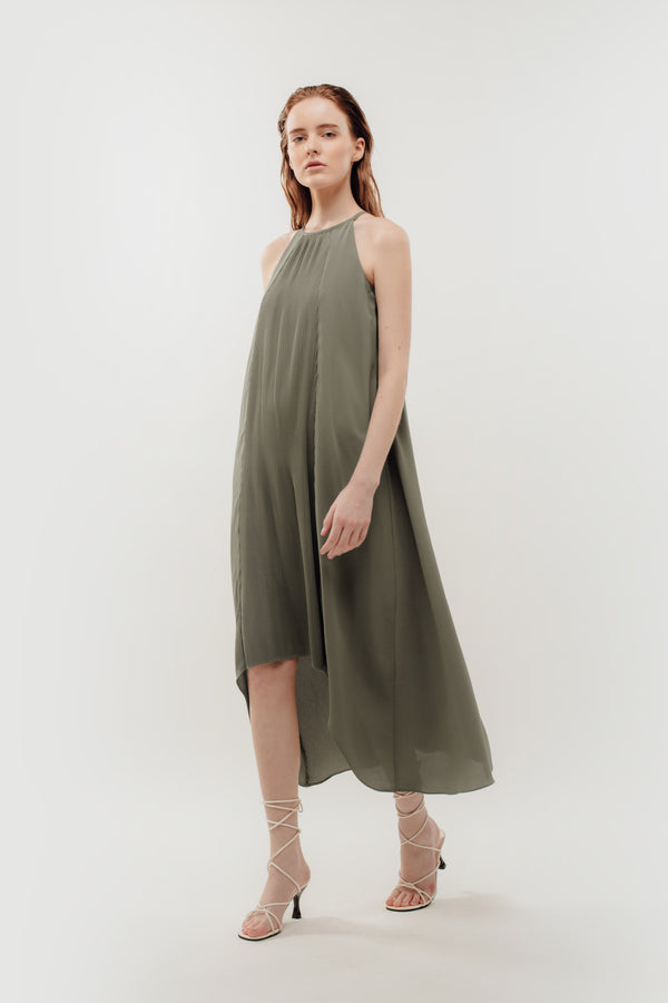 Pleated Halter Dress In Sage