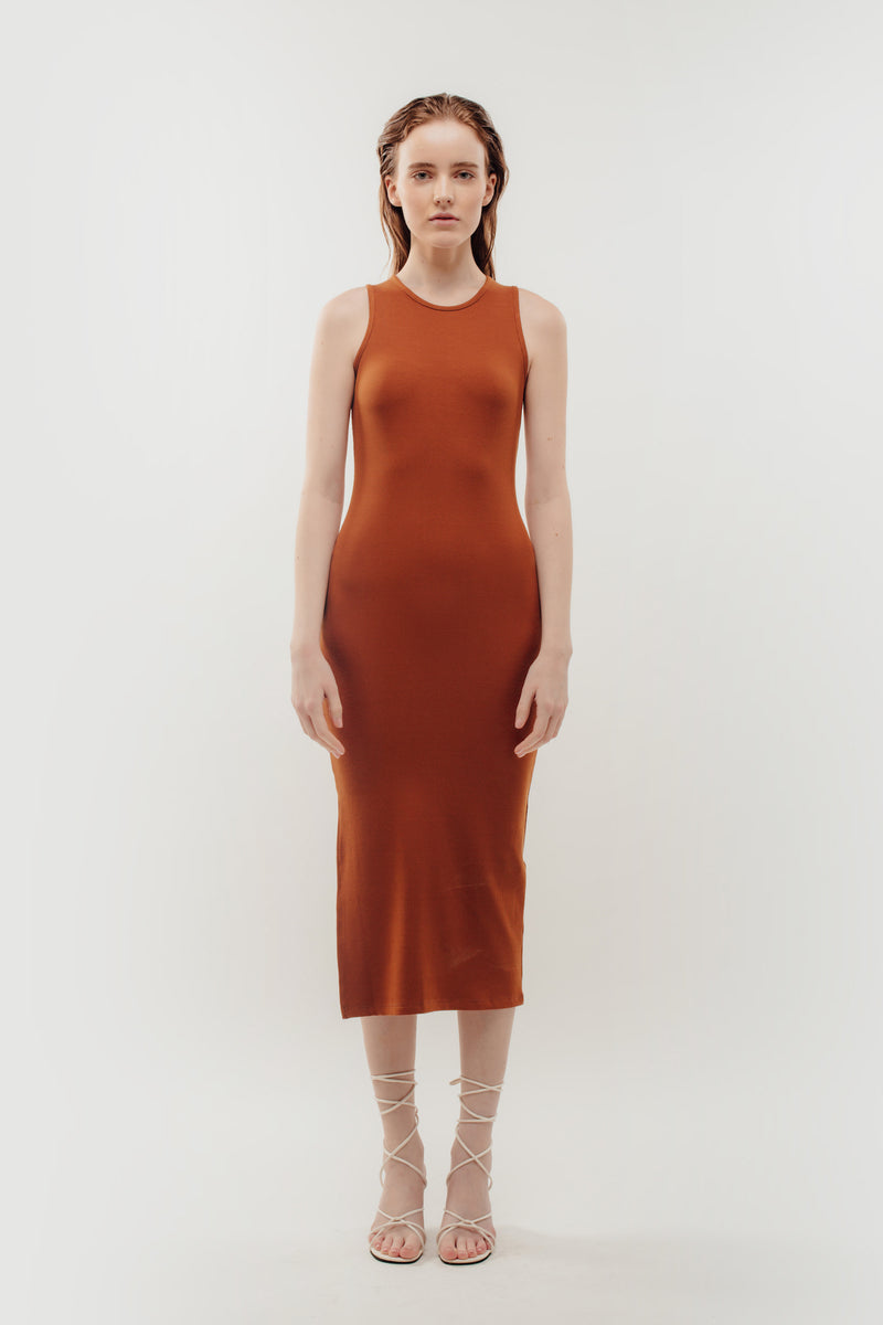 Knitted Dress in Rust Orange