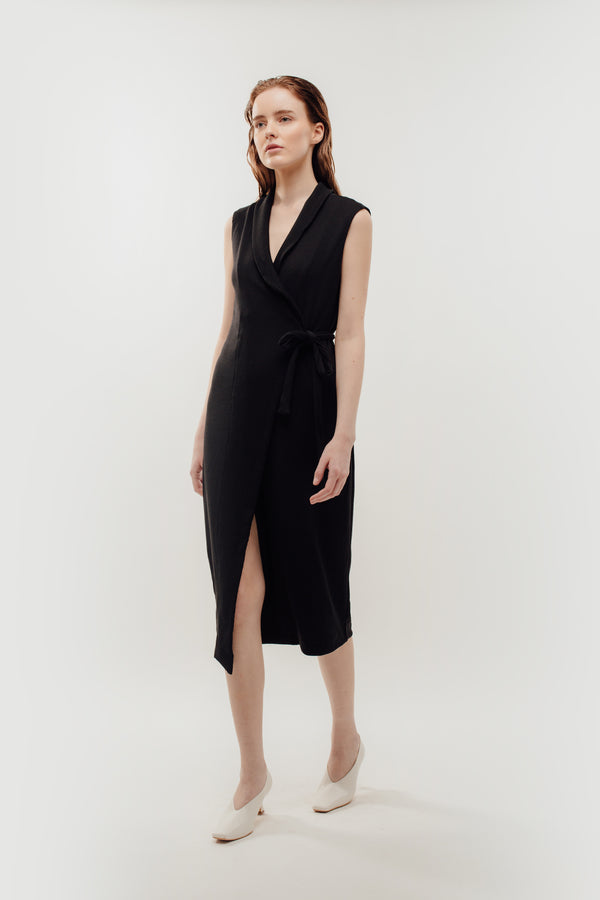 V-Neck Lapel Knitted Wrap Dress In Black