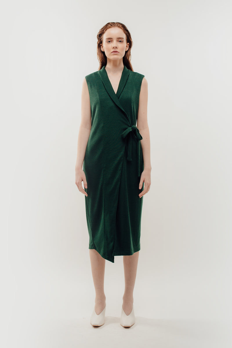 V-Neck Lapel Knitted Wrap Dress In Green