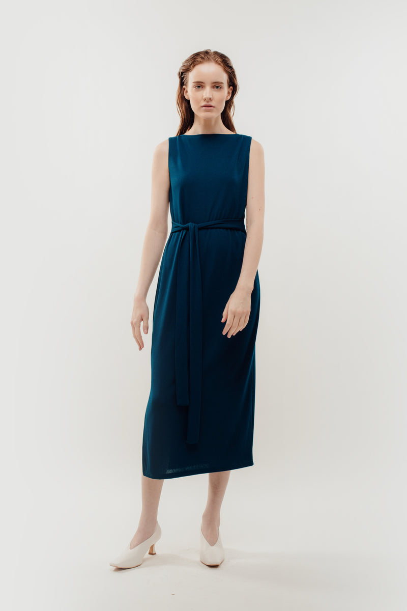 Classic Ribbed Knit Dress With Sash In Blue