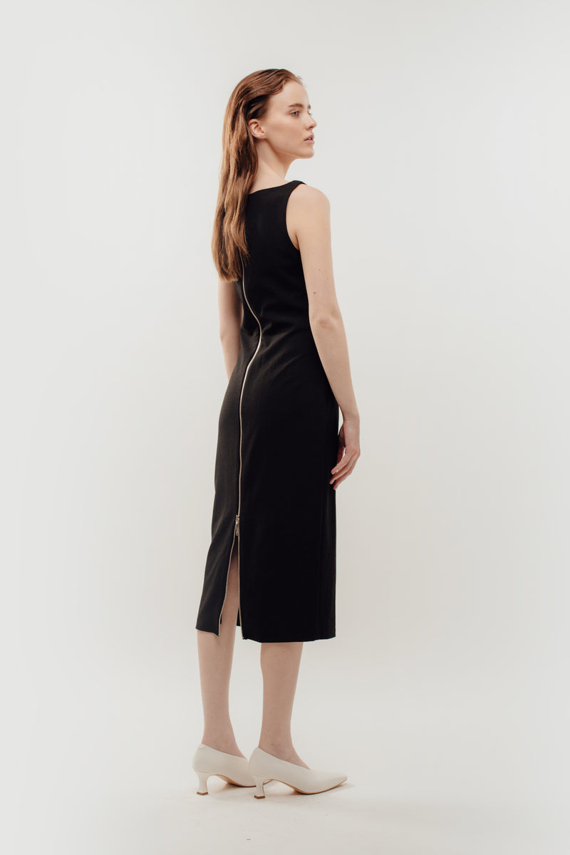 Classic Midi Dress w Exposed Zipper Slit In Black