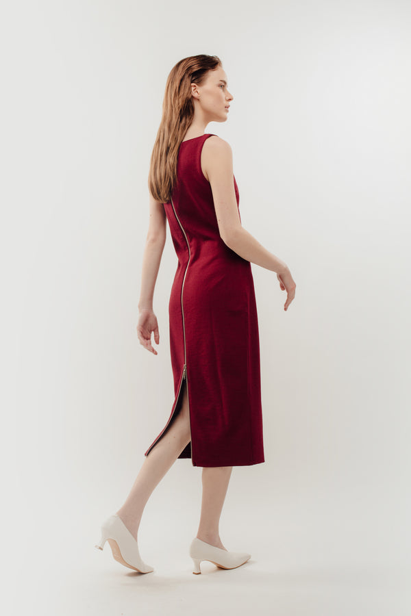 Classic Midi Dress w Exposed Zipper Slit In Red