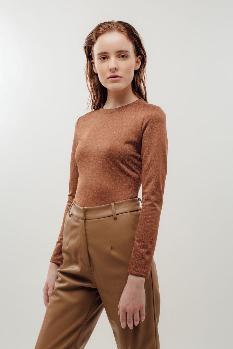 Fitted Long Sleeve Shirt in Shimmer Brown