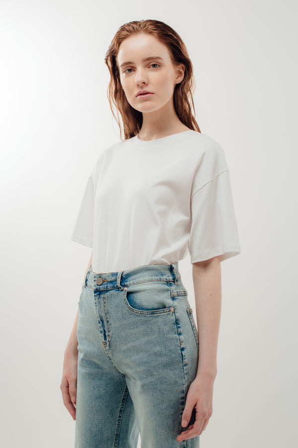Oversized Cotton Tee in White