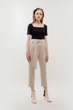 High Waisted Trousers with Belt Tie in Beige
